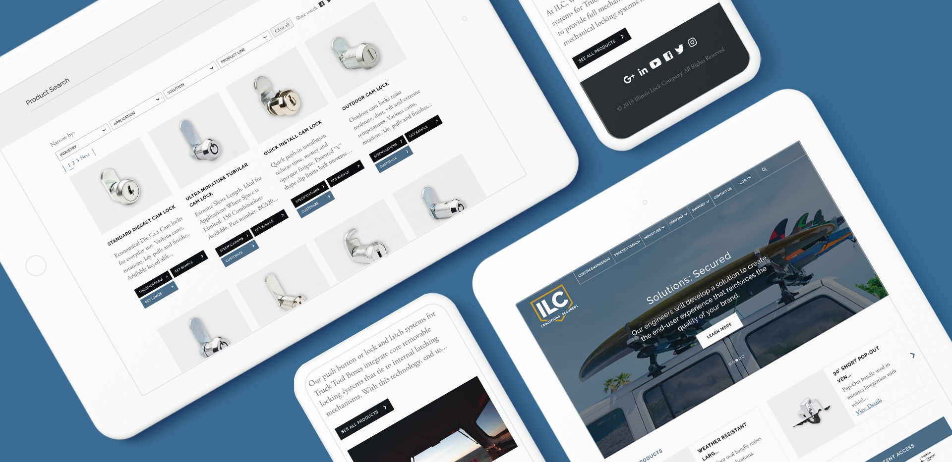 ILC manufacturer website design show on mobile phone and tablet