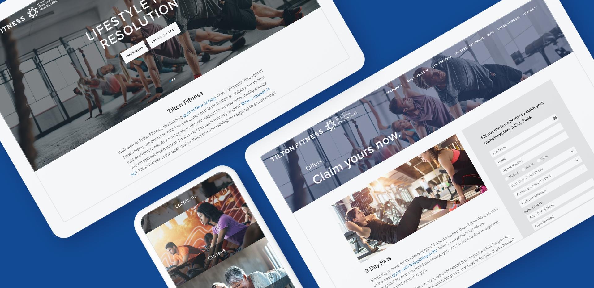tilton fitness custom website design mock up shown on tablet and mobile phone