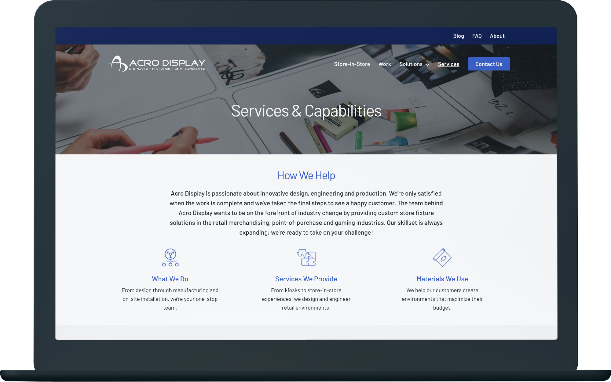 computer mockup showing a custom made website design